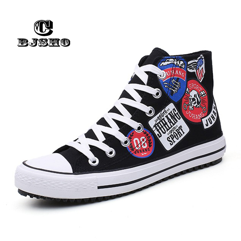 CBJSHO New Fashion Spring Graffiti Canvas Men Shoes Autumn Breathable Men's Casual British High Top Flat Vulcanized Shoes e lov women casual walking shoes graffiti aries horoscope canvas shoe low top flat oxford shoes for couples lovers