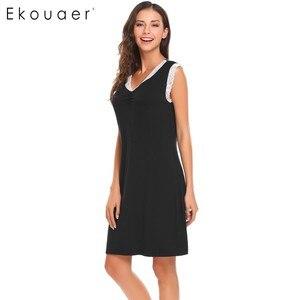 Image 5 - Ekouaer Ngủ Womens Casual Dễ Thương Thoải Mái Không Tay Nightdress Mùa Hè Ren Chắp Vá O Cổ Áo Tank Dress
