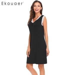 Image 5 - Ekouaer Sleepwear Womens Casual Cute Comfort Sleeveless Nightdress Summer Lace Patchwork O Neck Nightgown Tank Dress