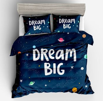 2018 new 3d Fashionable blue starry sky universe Bedding Sets Colorful Duvet Cover pollow case 2/3pc twin full queen king size
