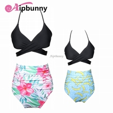 2018 Halter Printed Floral Parent-Child Bikini Set Kids Bath Swimsuit Women Flouncing Ruffle Swimwear High Waist Girl Beach wear