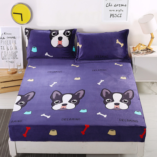 1pc Black Cartoon Dog Design Bedspread Warm Fitted Sheet Mattress Cover  Four Corners With Elastic Band