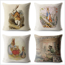 FOKUSENT Peter Rabbit Pattern Printed Pillow Cover Skull Cushion Covers Animal Pillow Case for Home Sofa Decorations Pillowcase(China)