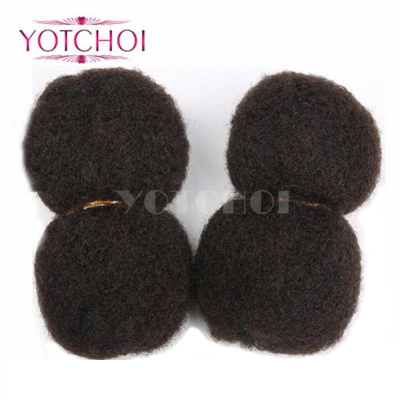 Yotchoi Tight Afro Kinky Curly Bulk hair for Dreadlocks Twist Braids 4pcs 100g/lot Cosplay for Havana Mambo Twist Braid Hair