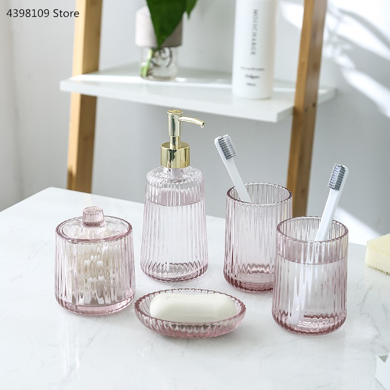 Five-piece / bathroom supplies / fashion pink crystal glass bathroom toiletries toothbrush holder / soap box bathroom accessorie image