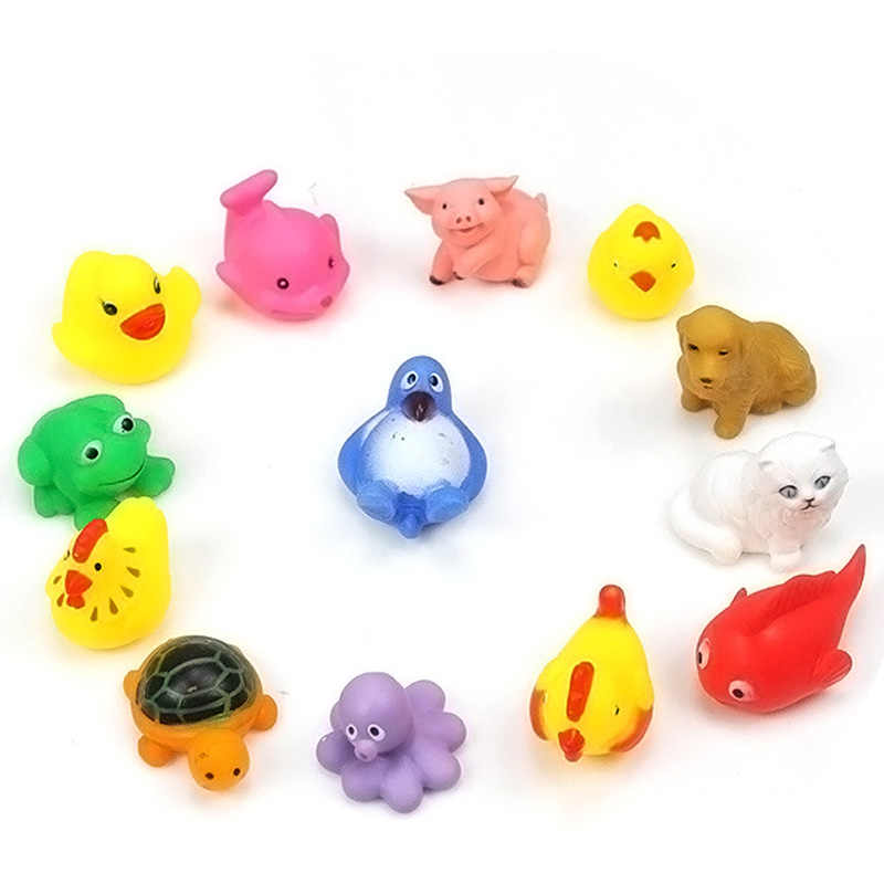 13 pçs/lote Brinquedos Do Banho Do Bebê Pato De Borracha flutuando Animais Crianças Brinquedo para Brincar na Água Do Banheiro Float Squeeze Soando Dabbling Brinquedos