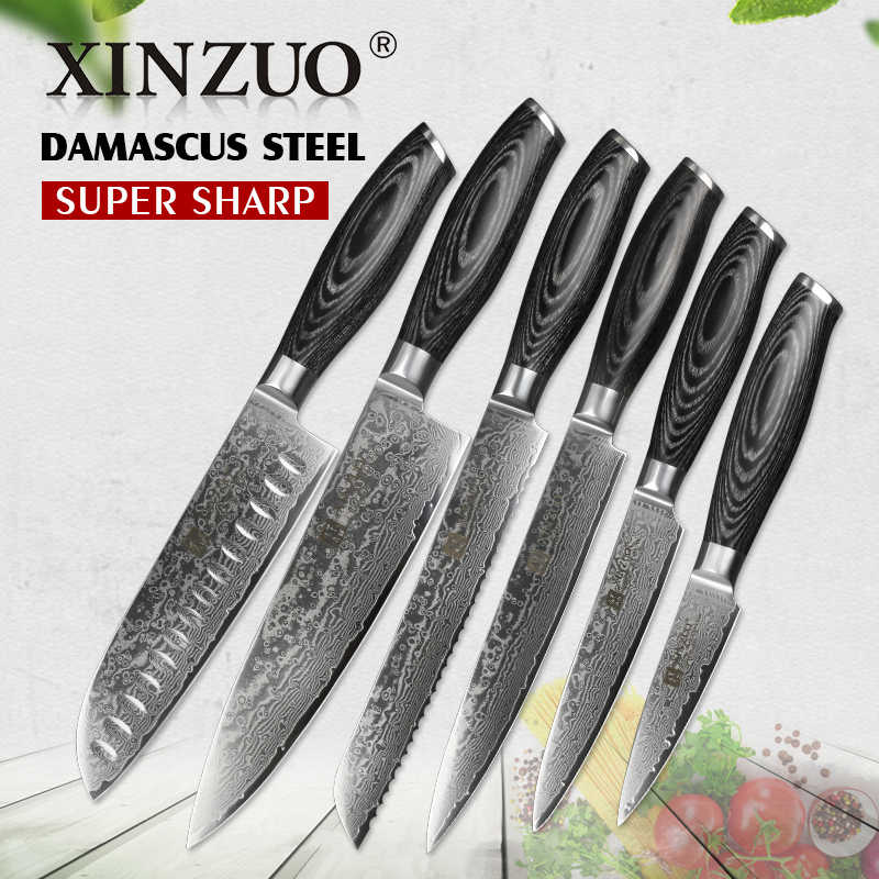 XINZUO 6 Pcs Kitchen Knives Sets High Carbon Japanese VG10 Damascus Steel Chef Santoku Bread Utility Knife Pakka Wood Handle
