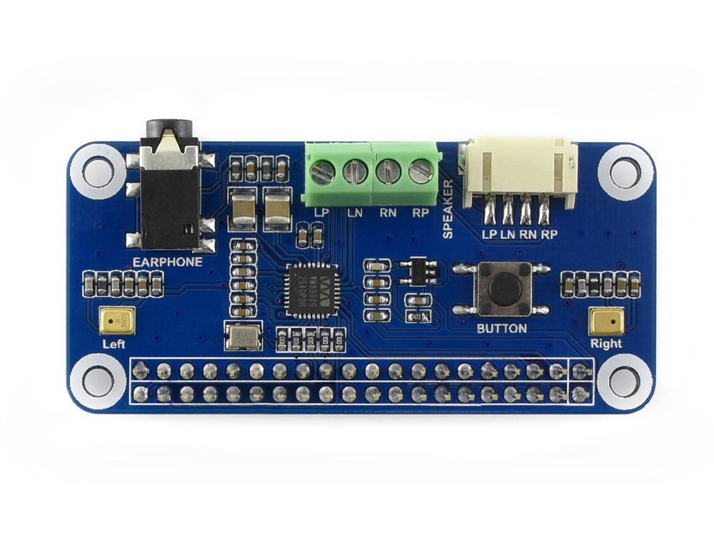 WM8960 Hi-Fi Sound Card HAT For Raspberry Pi Stereo CODEC Supports Stereo Encoding/decoding Features Hi-Fi Playing/recording