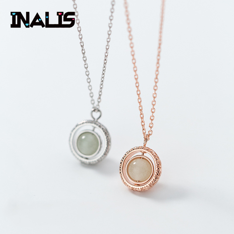 New Delicate Necklace S925 Sterling Silver Inl Round Light Luminous Stone Pendant Personalized Rotatable Clavicle Chain