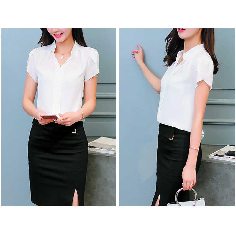Mulheres blusas e blusas camisas de verão chiffon blusas femininas ol curto blusa branca senhoras roupas mujer de moda 2019