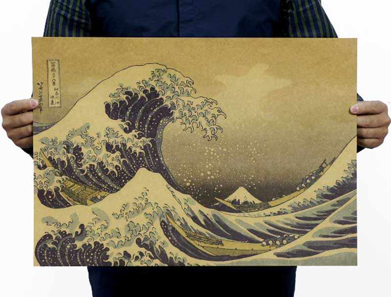 2016 Tree Wall Sticker Mixed Order And Combine Shipping Xxl Vintage Wall Kanagawa Surf Japanese Ukiyoe Paper Poster 51*35.5CM
