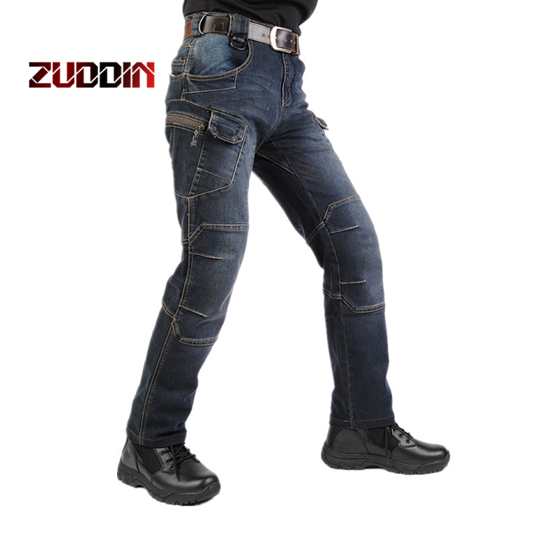 Dropshipping New IX7 SWAT Military Style Cargo Men Motorcycle Denim Biker Pockets Tactical Combat Army Jean japan style brand mens straight denim cargo pants biker jeans men baggy loose blue jeans with side pockets plus size 40 42 44 46
