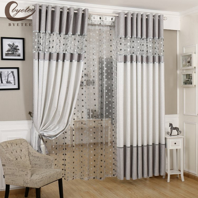 [byetee] Modern Curtain Thick Kitchen Blackout Curtains For Living Room  Fabrics Livingroom Curtain Bedroom