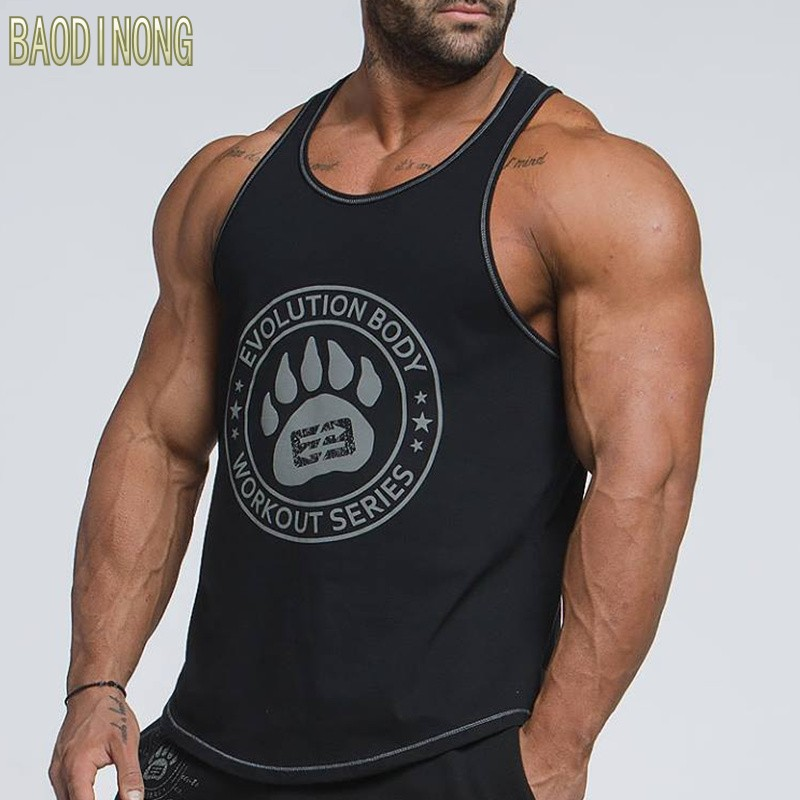 Mens Bodybuilding Tank top Gyms Fitness Cotton Sleeveless t shirt clothing Golds Stringer Singlet Man Casual Print Vest