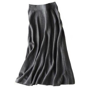 Image 1 - 秋冬新着 2018 女性のファッショントレンドハイウエスト A ラインのロングスカートカシミヤブレンドニットスカートマキシスカート