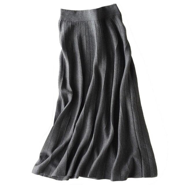 秋冬新着 2018 女性のファッショントレンドハイウエスト A ラインのロングスカートカシミヤブレンドニットスカートマキシスカート