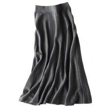 Autumn Winter New Arrival 2018 Women Fashion Trends High Waist A Line Long Skirts Cashmere Blending Knitted Skirts Maxi Skirts