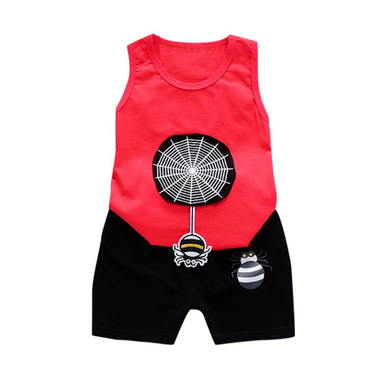 Cherry Pills #3008 Summer beach baby clothes for boys sleeveless fashion Clothes Cartoon Tops Shorts childrens clothing 2018