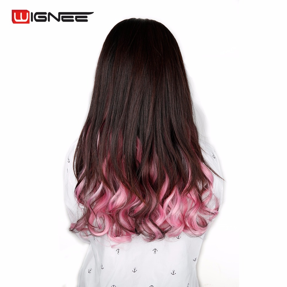 wignee colorful hair extensions for women 5 clips in hair pieces high  temperature heat resistant synthetic