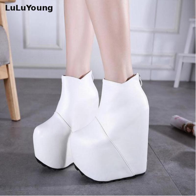 19cm/ 20 Cm High Heel Wedges Ankle Boots Women Hgih Platform Close Toe Back Zipper Sexy Booties
