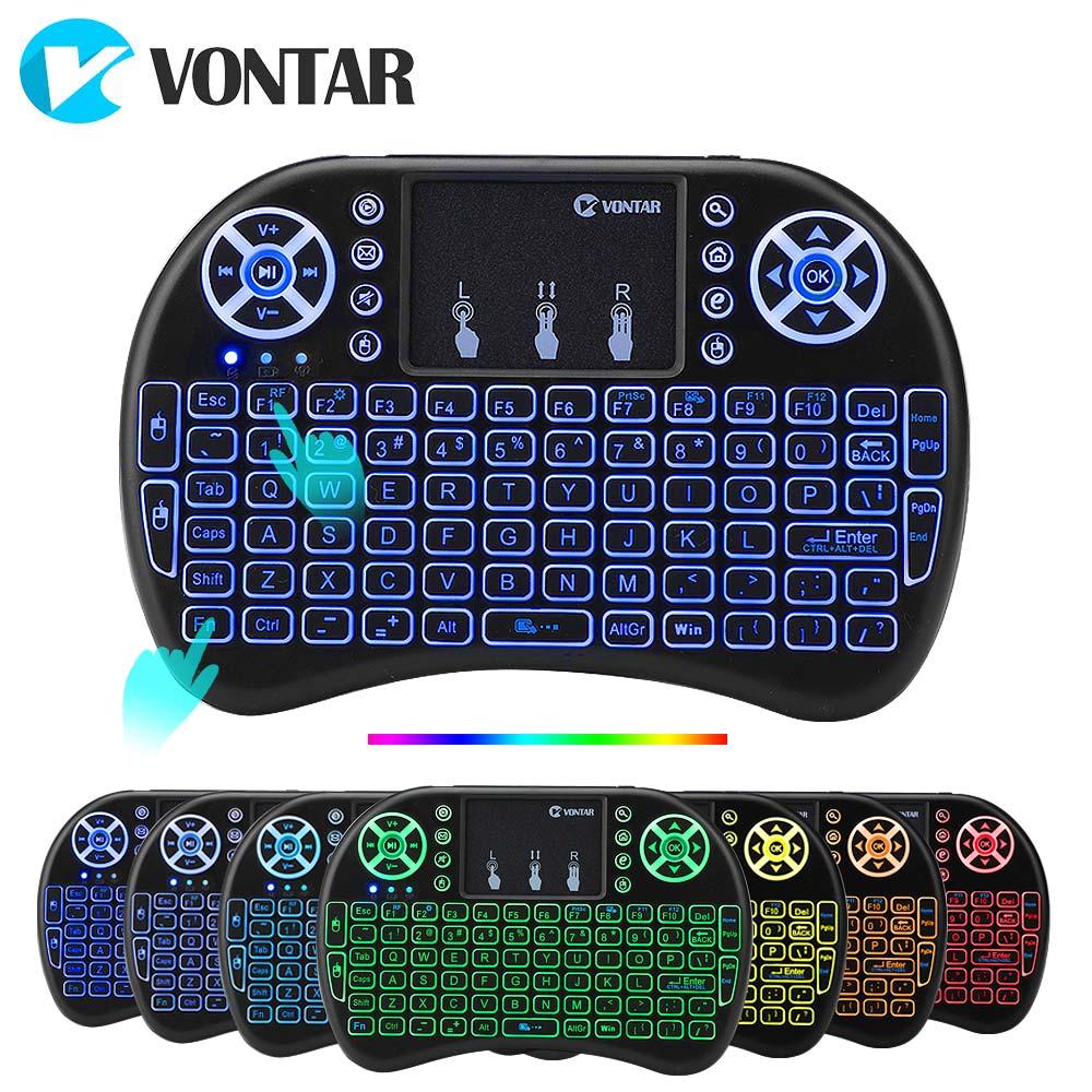 VONTAR i8 + 2,4G Mini Drahtlose Tastatur 7 farben backlit AAA batterie version Englisch Russisch Spanisch Air Maus für android TV Box