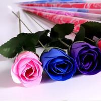 12ピース/バンチシミュレーションローズソープフラワー付きリボンウェディング土産バレンタインの日ギフト誕生日美しいギフト用フェスティバル