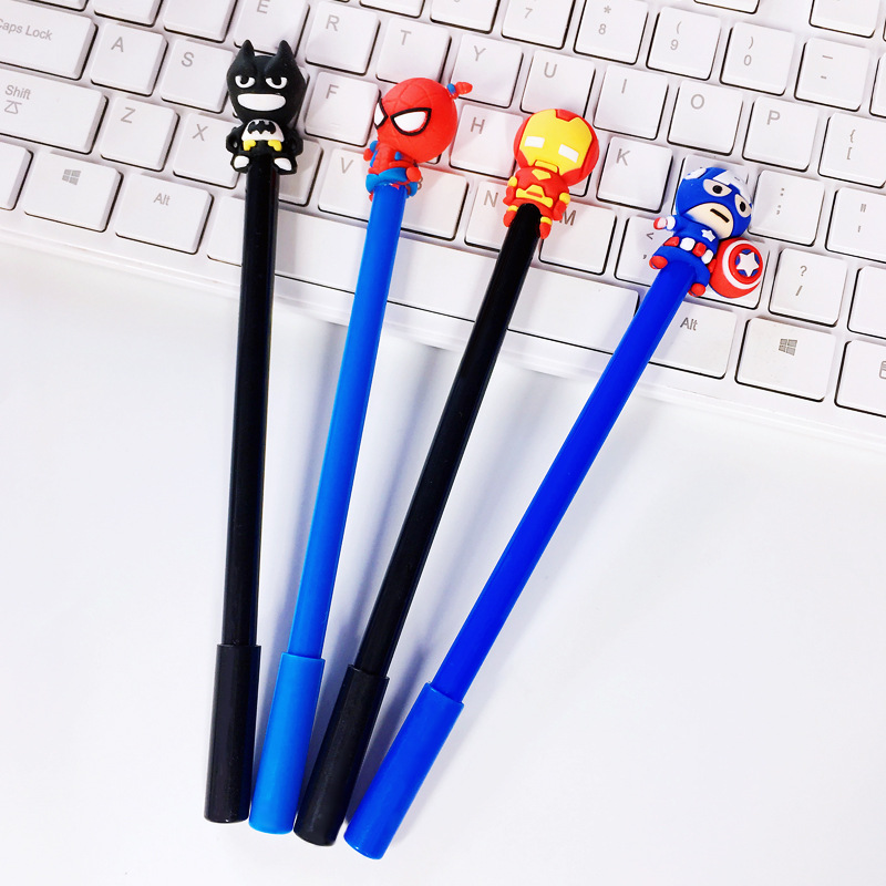 36 Pcs/lot Hero Series Gel Pen Cute 0.5mm Black Ink Signature Pen Escolar School Office Writing Supplies