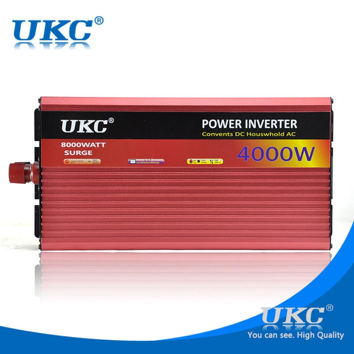 UKC Onduleur 12 v 220 v 4000 w 8000 w P eak Onde sinusoïdale Modifiée Power Inverter DC12V à AC220V tension Transformateur Convertisseur USB