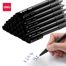 Deli 1pcs 0.7mm black Press ballpoint Oil Pen Plastic gel neutral multi-function press Ballpoint School Stationery