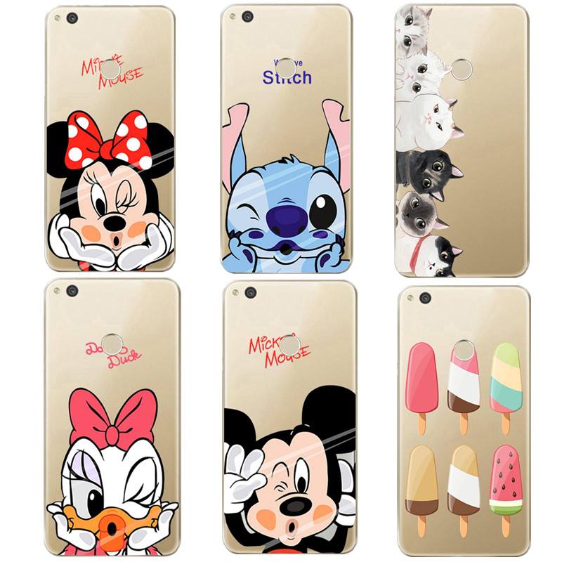 Transparent Silicone Soft Cover For Huawei p9 lite Case Capa Cute Cartoon Character Ice Cream Shell For p8 lite 2017 p10 lite