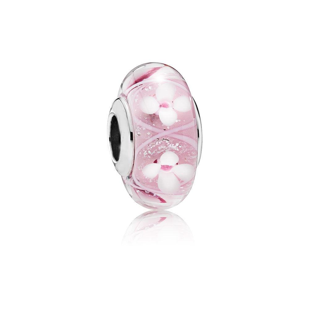 LJP Spring NEW 925 Silver Pink Field of Flowers Charm, Murano Glass Beads fit Original Pandora Bracelet DIY Charm Jewelry