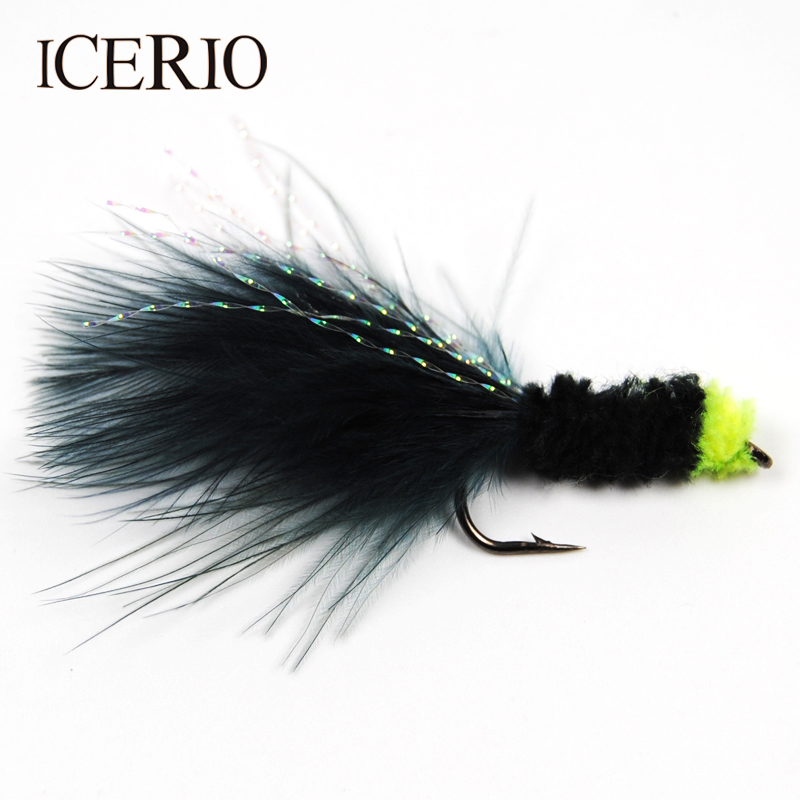 ICERIO 6PCS Green Egg Sucking Leech Bugger Streamer Flies Trout Fly Fishing Lures #8 leech therapy