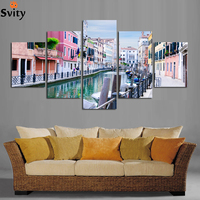 Free shipping beautiful town scenery painting on canvas pictures scenery wall art decorative for living room home decor A100