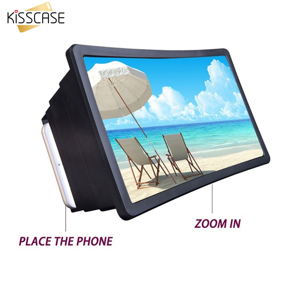 KISSCASE Luxury 7 Inch 3D Screen Amplifier Glass Phone Foldable Stand For IPhone Huawei Samsung Magnifying Screen Desk Holders