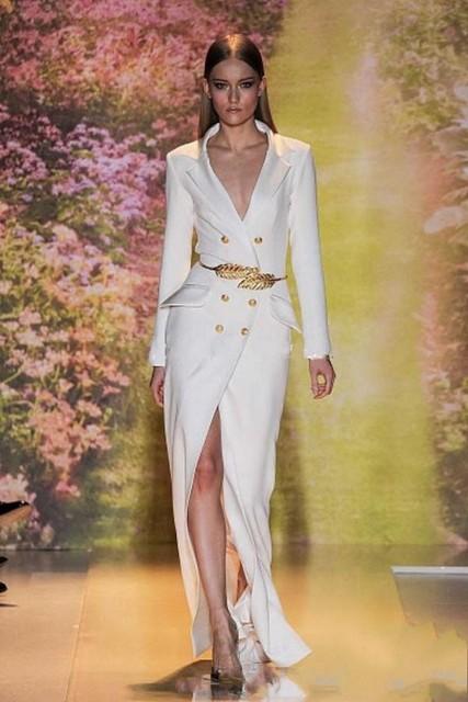 Moda blanca con cuello en V del diseño completo de manga larga celebridad viste especial estilo de la solapa vestidos noche con el botón Sash Vestido