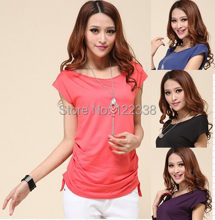 2016 free shipping ladies fashion candy color summer style female T-shirt shirt sell like hot cakes  TOPS
