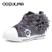 COZULMA Kids Sneakers Girls Sports Shoes Girls Elegant Flower Ankle Boots Children High Shoes Grils Flat Sneakers Canvas Shoes(China)
