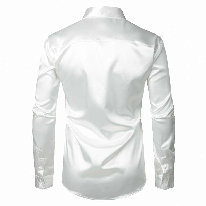 Elegante camisa de satén de seda blanca camisa de hombre Chemise Homme 2018 Casual de manga larga ajustada para hombre Camisas de vestir de negocios de boda camisa masculina