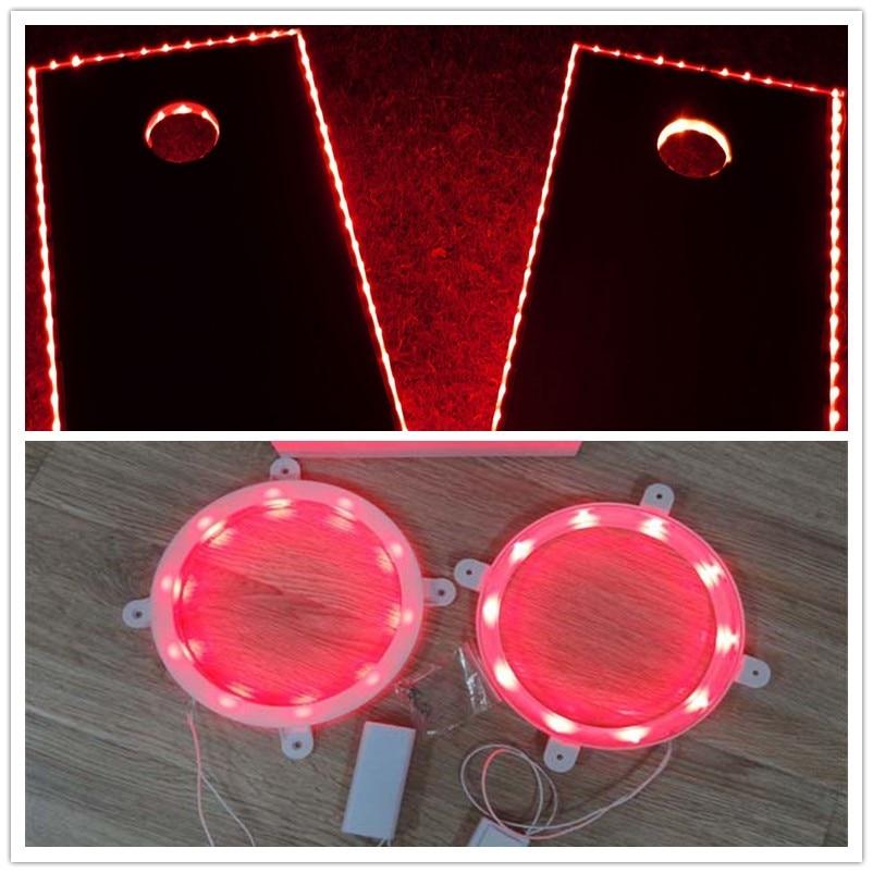 Cornhole LED Board Lights (2 Pcs Per Set)and 2 Pcs Cornhole Edge Lights , 5 Colors, For Bean Bag Toss Cornhole Games