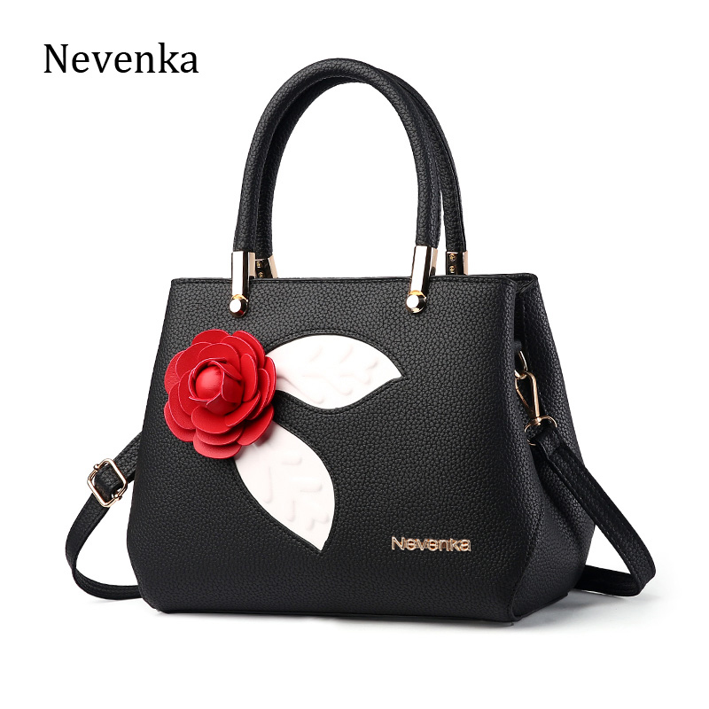 Nevenka Fashion Women Bag Handbag PU Shoulder Bag OL Messenger Bags Casual Flowe