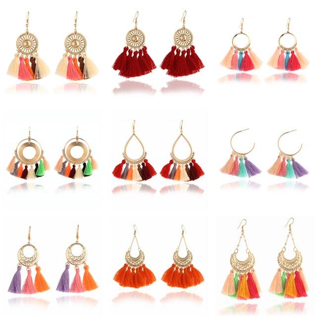 H3 Bohemian Style Tassel Earrings Ethnic Handmade Long Earrings Colorful Fringe