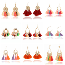 H3 Bohemian Style Tassel Earrings Ethnic Handmade Long Earrings Colorful Fringe Drop Earrings For Women Fashion Wedding Jewelry