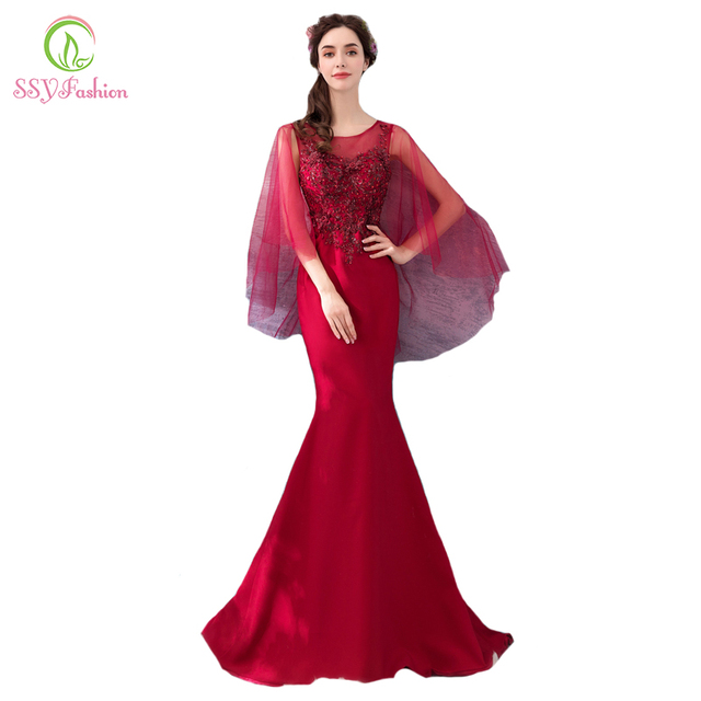 SSYFashion New The Banquet Elegant Mermaid Evening Dress Wine Red Lace  Appliques Sexy Fishtail Prom Party b78c84e143b3