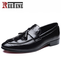 Ayakk.'ten Erkek Rahat Ayakkabılar'de Reetene Erkek Elbise Ayakkabı Yüksek Kaliteli deri erkek ayakkabısı Erkekler loafer ayakkabılar Deri Erkekler Elbise Ayakkabı Üzerinde Kayma