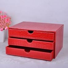 3 слоя 3 ящика древесины тельству кожа стол подачи ящик для хранения Кабинета министров Организатор документ контейнер Croco красный 217D