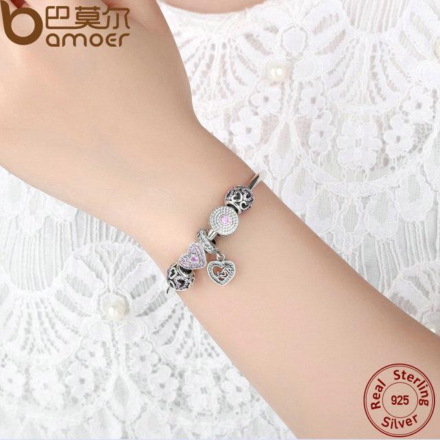 Sterling Silver Heart Bangles Mom Pendant Bracelet