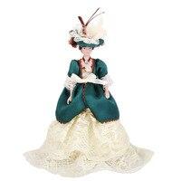 Dollhouse Miniature Những Con Búp Bê Sứ Victoria Lady trong Màu Xanh Lá Cây với Đứng Creative Cô Gái Quà Tặng Trình Bày Chơi Giả Vờ Đồ Chơi