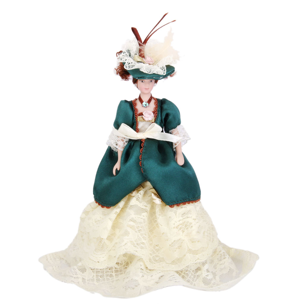 Dollhouse Miniature Porcelain Dolls Victorian Lady in Green Dress with Stand Creative Girls Gifts Presents Pretend Play Toys