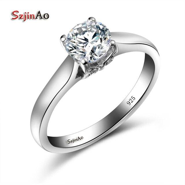 b1f8b8c39dcd Szjinao mariposa anillo oro blanco Color Anillos de Compromiso de joyería  para las mujeres Zircon de