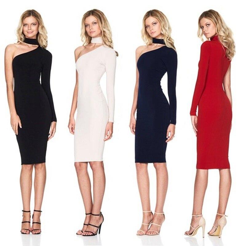 Новое летнее женское платье миди сексуальное на одно плечо с лямкой на шее Платья для вечеринок облегающее вечернее черное белое платье-кар...